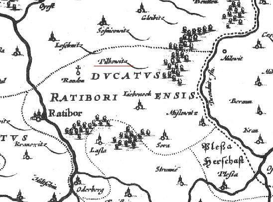 Fragment mapy Śląska Martina Helwiga w wersji z XVIII w.