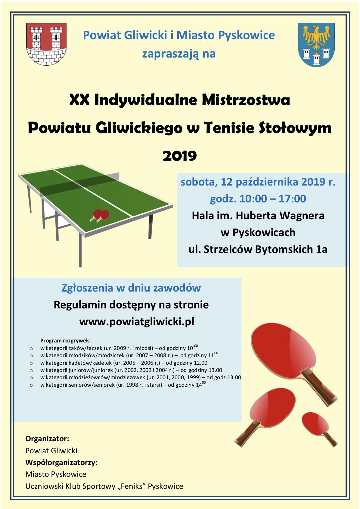 XX Indywidualne Mistrzostwa Powiatu Gliwickiego w Tenisie Stołowym