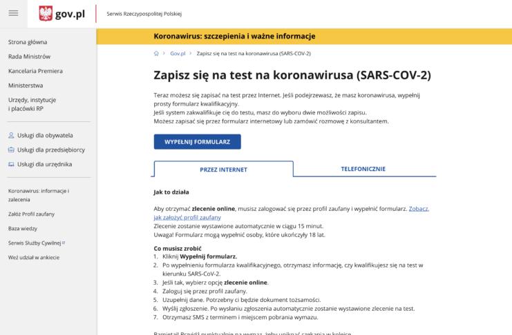 Zapisz się na test na koronawirusa
